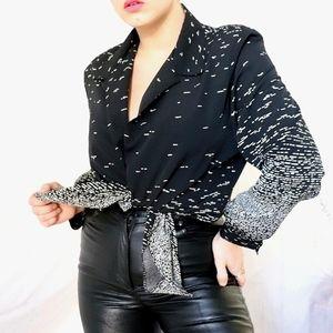 Vintage black & cream patterned button down shirt